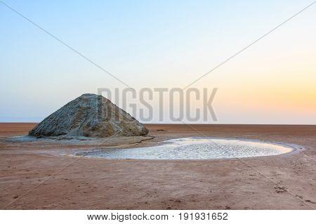 Shores of Chott el Djerid, salt lake in Tunisia