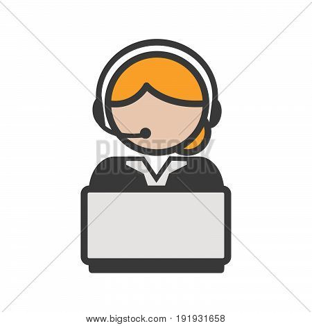 Call center agent icon with blond hair and a computer