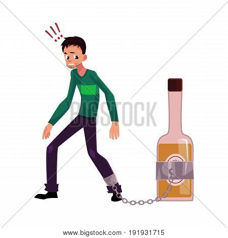 Unshaven man standing with leg chained to bottle of liquor, alcohol dependence, cartoon vector illustration isolated on white background. Man with arm, foot chained to bottle of alcohol liquor booze