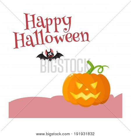 Happy Halloween greeting card, poster, banner design with bat and with orange pumpkin, cartoon vector illustration isolated on white background. Halloween greeting card