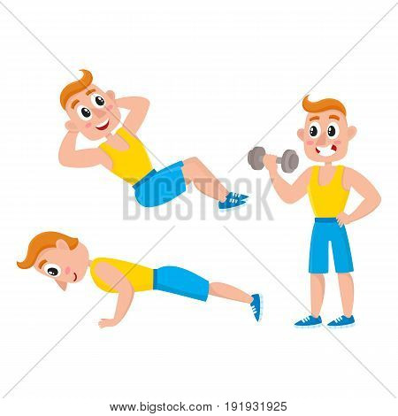 Young man doing sport exercises, training, weightlifting, doing sit-ops, push-ups, cartoon vector illustration isolated on white background. Cartoon man, guy doing fitness exercises, weightlifting