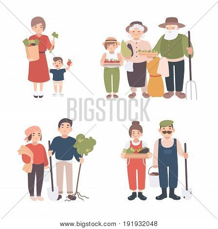 Set of village people. Different young, adult, old farmers and kids together. Happy grandparents, man and woman with seedlings, crops, tools. Colorful vector illustration in cartoon style