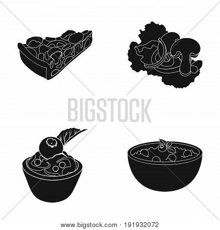 Piece of vegetarian pizza with tomatoes, lettuce leaves with mushrooms, blueberry cake, vegetarian soup with greens. Vegetarian dishes set collection icons in black style vector symbol stock illustration .