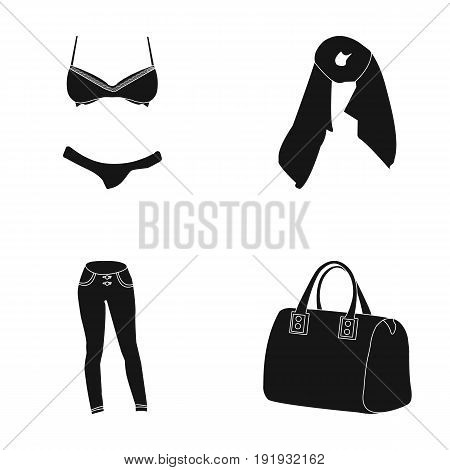 Bra with shorts, a women's scarf, leggings, a bag with handles. Women's clothing set collection icons in black style vector symbol stock illustration .