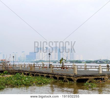 Stone Pier On The River In Saigon.