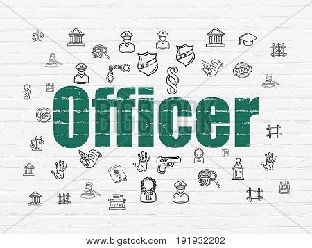 Law concept: Painted green text Officer on White Brick wall background with  Hand Drawn Law Icons