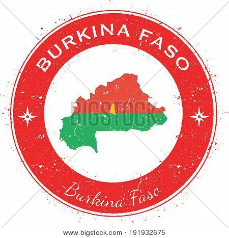Burkina Faso Circular Patriotic Badge. Grunge Rubber Stamp With National Flag, Map And The Burkina F