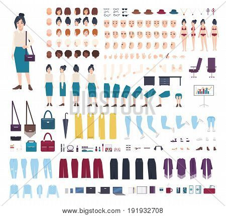Business woman character constructor. Girl clerk creation set. Different postures, hairstyle, face, legs, hands, clothes collection. vector cartoon illustration. front side back view