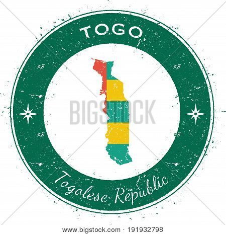 Togo Circular Patriotic Badge. Grunge Rubber Stamp With National Flag, Map And The Togo Written Alon