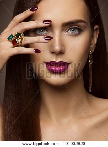 Woman Beauty Makeup Nails Lips Eyes Model Covering Face Make Up by Hand with Ring Jewelry