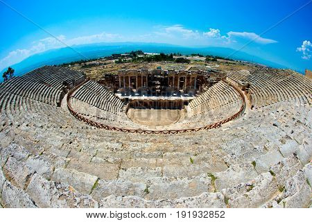 Roman Theater in Pamukkale, the ancient city of Hierapolis Turkey