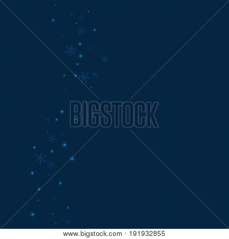 Sparse Glowing Snow. Left Wave With Sparse Glowing Snow On Deep Blue Background. Vector Illustration