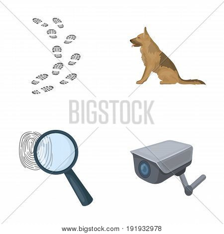 Traces on the ground, service shepherd, security camera, fingerprint. Prison set collection icons in cartoon style vector symbol stock illustration .