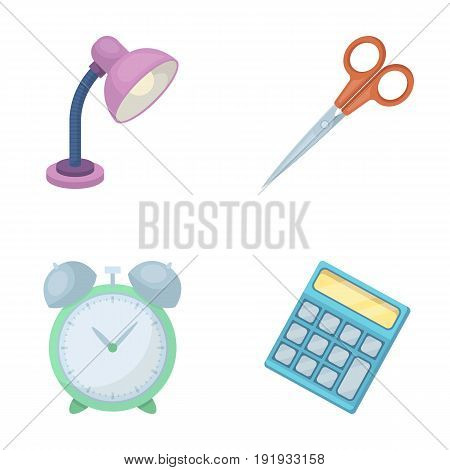 Table lamp, scissors, alarm clock, calculator. School and education set collection icons in cartoon style vector symbol stock illustration .