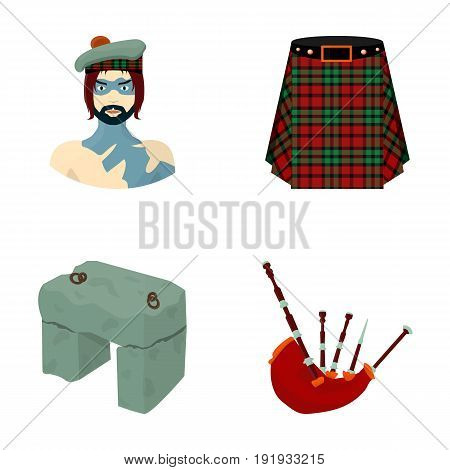 Highlander, Scottish Viking, tartan, kilt, scottish skirt, scone stone, national musical instrument of bagpipes. Scotland set collection icons in cartoon style vector symbol stock illustration .