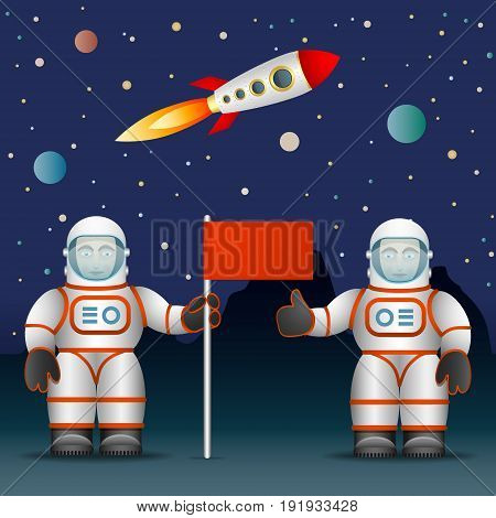 Astronauts on the planet s surface a flag. Space and Astronautics. The rocket and the starry sky. Vector illustration