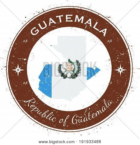 Guatemala Circular Patriotic Badge. Grunge Rubber Stamp With National Flag, Map And The Guatemala Wr