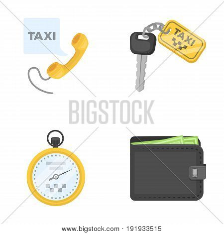 Handset with the inscription of a taxi, car keys with a key fob, a stopwatch with a fare, a purse with money, dollars. Taxi set collection icons in cartoon style vector symbol stock illustration .