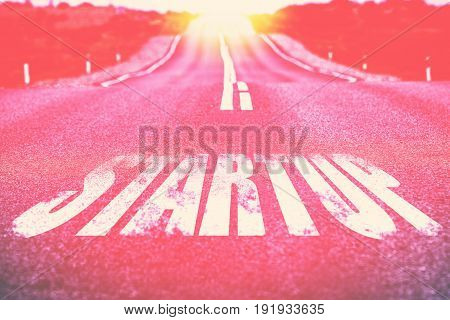 Startup written on road. Selected Focus. Toned