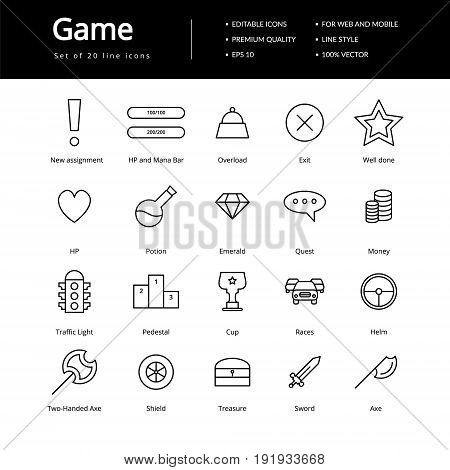 Game line icons, icons for web or mobile interfaces.