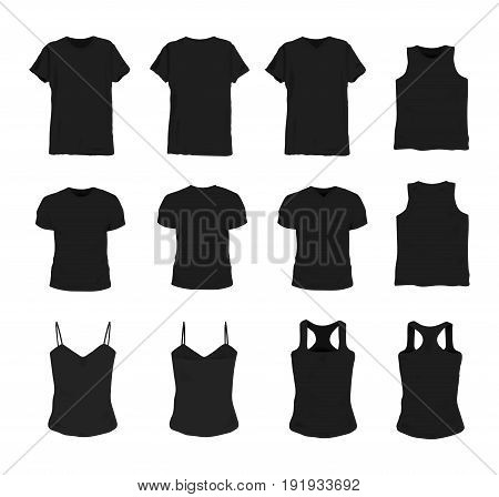 Set of different realistic black t-shirt for man and woman. Front and back view. Shirt sleeveless, short-sleeve, singlet, tank top. Vector illustration collection