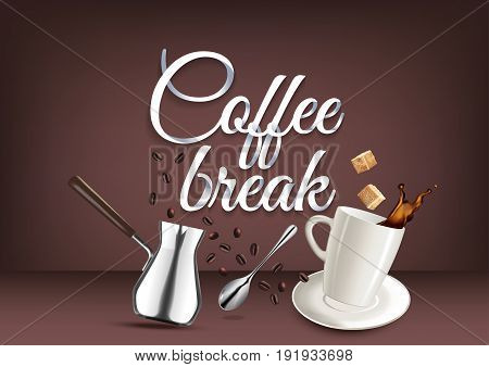 Coffee break paper hand lettering calligraphy. Vector illustration with coffee objects and text.