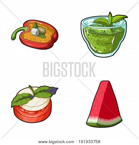 Sweet Bulgarian pepper, vitamin drink, jam with raspberry and mint leaves, a piece of watermelon. Vegetarian dishes set collection icons in cartoon style vector symbol stock illustration .