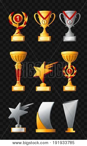 Awards - realistic modern vector set of different trophies, cups. Black background. Use this high quality clip art for presentations, banners and flyers. Gold and silver prizes of first and second places.