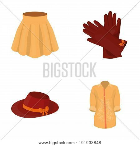 Skirt with folds, leather gloves, women's hat with a bow, shirt on the fastener. Women's clothing set collection icons in cartoon style vector symbol stock illustration .