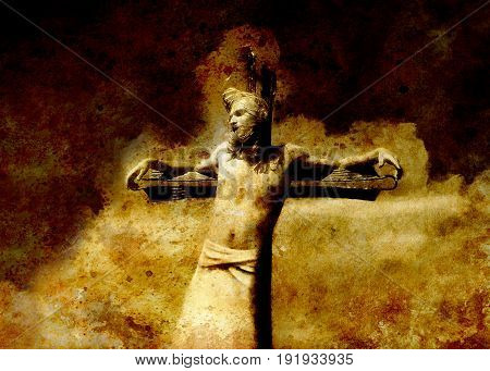 interpretation of Jesus on the cross, graphic painting version. Sepia effect