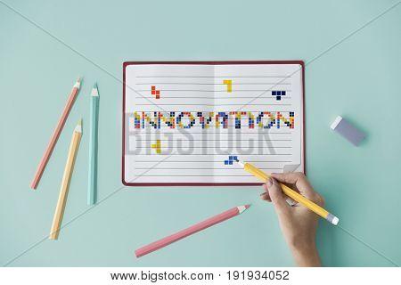 8 bit words illustration of innovation technology