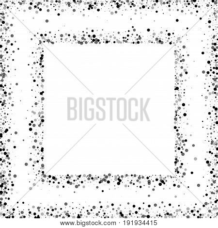 Dense Black Dots. Square Abstract Frame With Dense Black Dots On White Background. Vector Illustrati