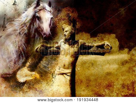 interpretation of Jesus on the cross and animals, graphic painting version. Sepia effect