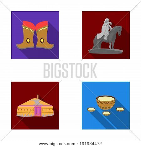 Military boots, a monument to the rider, a national tent, a milk drink. Mongolia set collection icons in flat style vector symbol stock illustration .