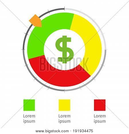 Credit score vector in a flat design.