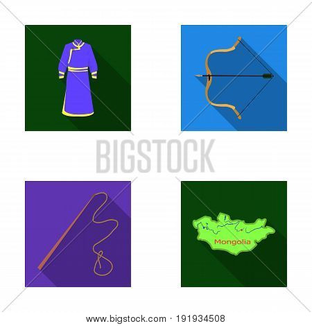 .mongol dressing gown, battle bow, theria on the map, Urga, Khlyst. Mongolia set collection icons in flat style vector symbol stock illustration .
