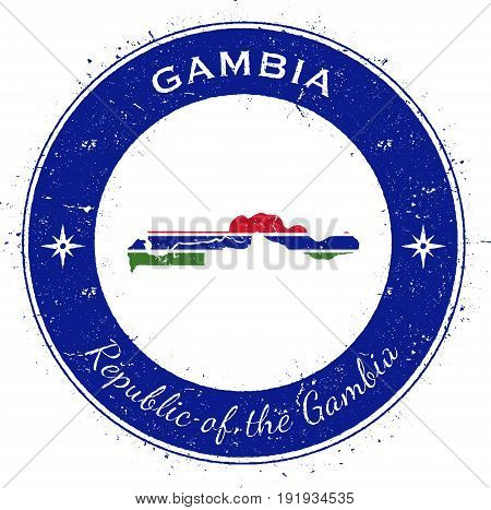 Gambia Circular Patriotic Badge. Grunge Rubber Stamp With National Flag, Map And The Gambia Written