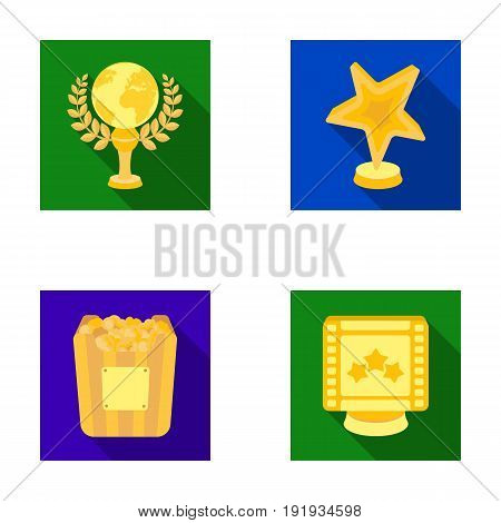 A gold prize in the form of a star, a gold globe and other prizes.Movie awards set collection icons in flat style vector symbol stock illustration .