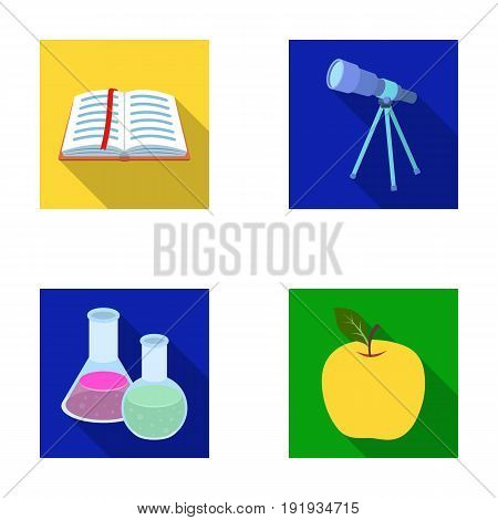An open book with a bookmark, a telescope, flasks with reagents, a red apple. Schools and education set collection icons in flat style vector symbol stock illustration .
