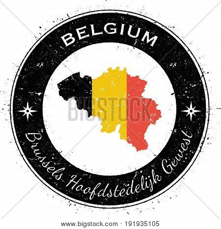 Belgium Circular Patriotic Badge. Grunge Rubber Stamp With National Flag, Map And The Belgium Writte