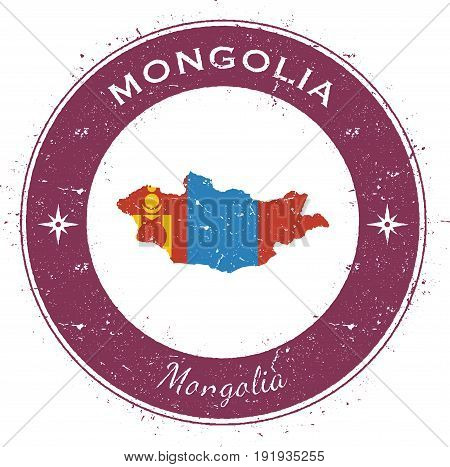Mongolia Circular Patriotic Badge. Grunge Rubber Stamp With National Flag, Map And The Mongolia Writ