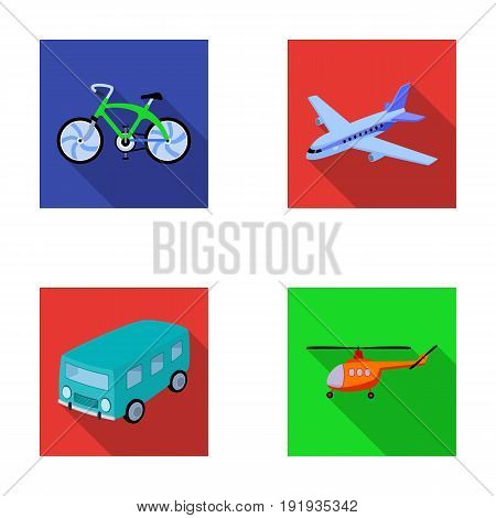 Bicycle, airplane, bus, helicopter types of transport. Transport set collection icons in flat style vector symbol stock illustration .