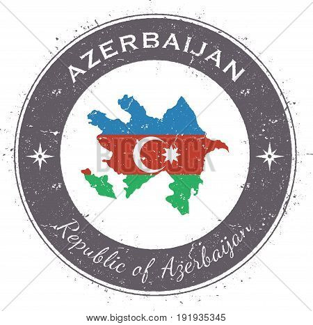 Azerbaijan Circular Patriotic Badge. Grunge Rubber Stamp With National Flag, Map And The Azerbaijan