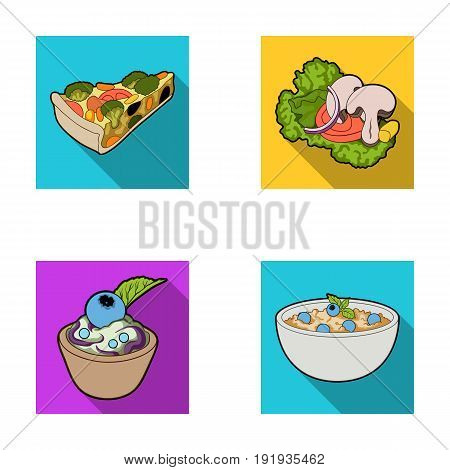 Piece of vegetarian pizza with tomatoes, lettuce leaves with mushrooms, blueberry cake, vegetarian soup with greens. Vegetarian dishes set collection icons in flat style vector symbol stock illustration .
