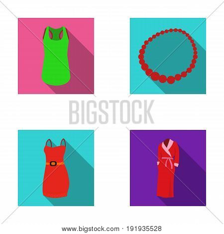 T-shirt, beads, summer women's sarafan on straps with a belt, a home gown. Women's clothing set collection icons in flat style vector symbol stock illustration .
