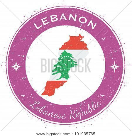 Lebanon Circular Patriotic Badge. Grunge Rubber Stamp With National Flag, Map And The Lebanon Writte