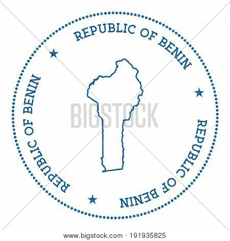Benin Vector Map Sticker. Hipster And Retro Style Badge With Benin Map. Minimalistic Insignia With R