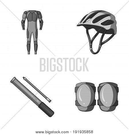 Full-body suit for the rider, helmet, pump with a hose, knee protectors.Cyclist outfit set collection icons in monochrome style vector symbol stock illustration .