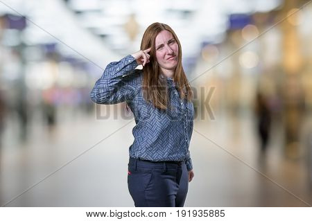 Pretty Business Woman Making Crazy Gesture