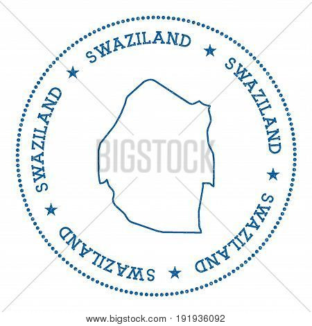Swaziland Vector Map Sticker. Hipster And Retro Style Badge With Swaziland Map. Minimalistic Insigni
